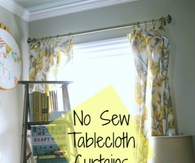 No sew tablecloth curtains