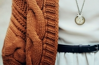 Pumpkin sweater and necklace