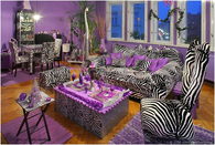Zebra Stripes & Purple Accent Living Room