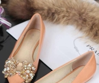 Pretty Pastel Flats with Bling Bows