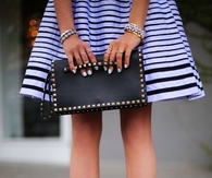 Blue & Black Striped Skirt with Bow Pumps