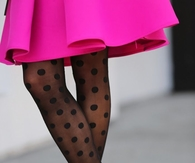 Pink Skirt with Polka Dot Stockings & Pumps