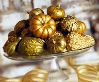 Gold Painted Mini Pumpkins & Gourds
