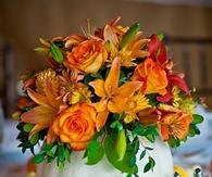 Fall Flowers in Pumpkin Vase