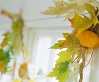 Garland made with Mini Pumpkins and Leaves