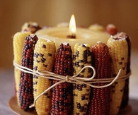 Indian Corn Around Candle