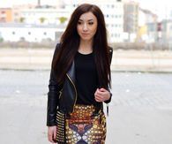 Mini Skirt, Cropped Leather Jacket and Short Boots