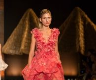 Coral Hi Lo Ruffled Gown