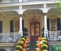 Floral and pumpkin porch decor
