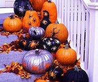 Spider pumpkin decoration