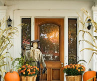 Front Porch Decorated for Fall Season