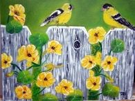 Oil Painting of Birds on Fence with Flowers