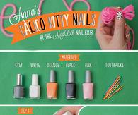 DIY Calico Kitty Nails