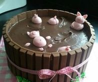 Cute Pigs in Mud Cake