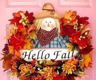 Cute Hello Fall Scarecrow Wreath