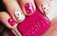 Pink Polka dot nails