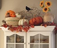 Cute Hutch Decorated for Fall