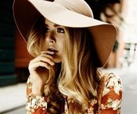Floppy Hat with Floral Long Sleeved Dress
