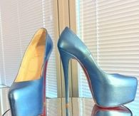 Light Blue Satin Platform Pumps