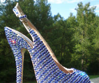 High Heel Slingbacks with Open Toe & Blue Bling