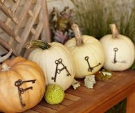 Old Keys as Letters on Pumpkins
