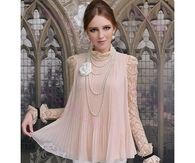 Lovely Chiffon Blouse with Lace Sleeves