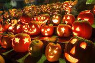 Lit Pumpkins at Night