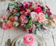 Beautiful Table Setting with Pink Roses
