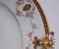 Antique China Plate with Gold Edging