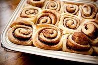 Tray of Cinnamon rolls