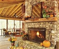 Brick Fireplace Decorated for fall