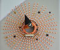 Halloween straw wreath and halloween plate wall