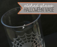 Etched Glass Halloween Vase