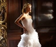 Strapless Organza Ruffled Wedding Gown