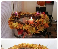 DIY Autumn Wreath Chandeleir