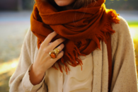 Autumn Scarf with Matching Ring