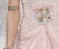 Soft Pink Gathered Chiffon Dress with Bling