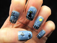 Black Cat Under The Moonlight Nail Art