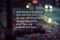 Just because somebody doesn't love you the way
