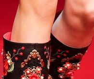 Dolce & Gabbana Red & Black Embroidered Boots