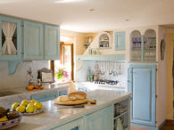 Pretty Blue Country Kitchen