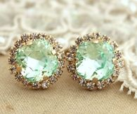 Vintage Clear Mint Green Crystal Earrings