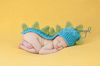 Crochet long tail dinosaur baby beanie hat