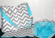 White chevron diaper bag and changing pad