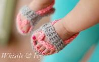 Crochet baby flipflops