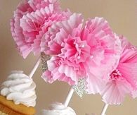DIY Cupcake Flower Toppers for Girls baby shower