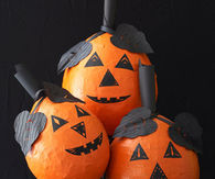 Papier mache halloween pumpkin craft