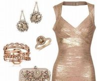Gold Mesh Dress and Accessories