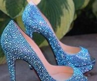 Light Blue Beaded Glitter Pumps
