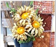 Rubber Boots as Vase for Dried Sunflowers